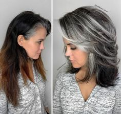 Grey Hair Transformation, Gray Hair Growing Out, Grow Hair, Gray Hair Highlights, Grey Hair Lowlights, Balayage Hair Grey, Grey Hair Inspiration, Covering Gray Hair, Transition To Gray Hair