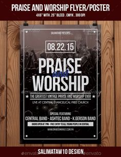 Praise and Worship Flyer / Poster — Photoshop PSD #flyer artwork #vintage • Available here → https://graphicriver.net/item/praise-and-worship-flyer-poster/12068667?ref=pxcr