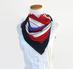 Mod Silk Scarf Chevron Stripe Vintage 70's Striped Retro Abstract Red White Blue Patriotic Hair Head Wrap Huge Big Size