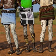 Bashada Tribe Warriors With Body Paintings, Dimeka, Omo Valley, Ethiopia