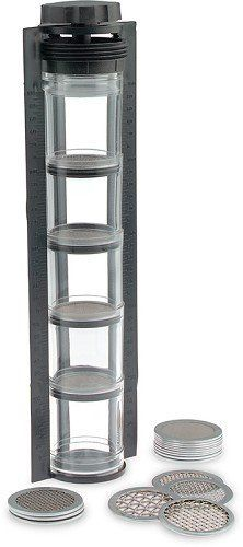 """Keck Sand Shaker (mechanical sieve kit) by Keck. $119.95. An accurate mechanical sieve kit designed to provide reliable grain size analysis! This shaker features 20 stainless steel screens including one each of the following U.S. Sieve Sizes: 4, 6, 8, 10, 12, 14, 16, 18, 20, 25, 30, 35, 40, 60, 100, 120, 140, 200, 230 and 270. Samples are placed into five, clear 2"""" acrylic cylinders and volumetric percentages are indicated on the shaker frame. Range: 0 to 100% in 5% increments."""