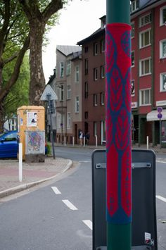 Knitting as local communication in Essen, Germany.  Public art.