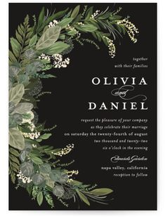 Greenery, Leaves, And Vines Sweep Around The Wedding Details. Botanical, Black Wedding Invitations From Minted By Independent Artist Susan Moyal. Our Wedding, Dream Wedding, Wedding Themes, Wedding Rings, Twilight Wedding, Green Wedding Invitations, Event Invitations, Vides, Wedding Details