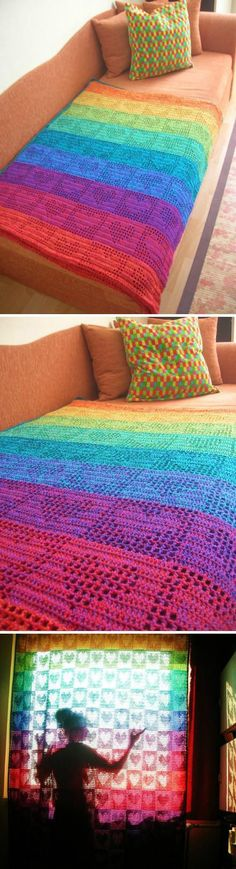 Cute heart blanket pattern