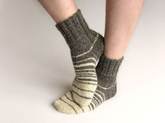 Striped Hand Knitted Woolen Socks 100% Natural Organic by milleta on Etsy www.etsy.com/shop/milleta