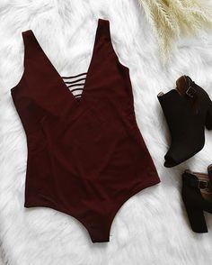 Link below to shop ❣ ✨ Meghan Burgundy Bodysuit ✨ Chester booties shopdevi.com • #shopdevi