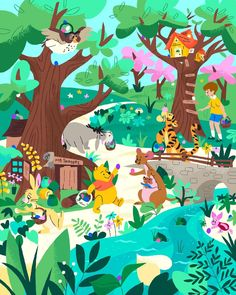 The Organisation is an International Illustration Agency representing some of the World's finest illustrators. Winnie The Pooh Friends, Disney Winnie The Pooh, Disney Love, Disney Cartoons, Disney Pixar, Walt Disney, Disney Illustration, Children's Book Illustration, Bear Wallpaper