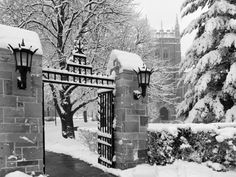 Boston College - Main Gate in Winter