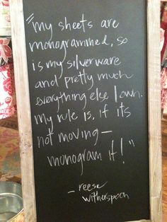 """Saw a note on a design site the other day which said """"Monogramming is great, but limit yourself to one item in your home."""" I do not understand these words...what could they mean, using """"monogram"""" and """"limit"""" together!?!?"""