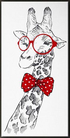 Joli tableau d'une girafe aux lunettes rondes rouges