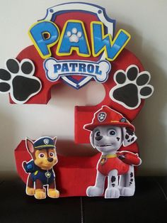 Paw Patrol Number Centerpiece by waacreations on Etsy