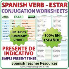 Spanish Worksheets to learn the correct conjugation of the verb ESTARin the simple present tense. Ejercicios para practicar la conjugación del verbo ESTAR en español (en el presente de indicativo…