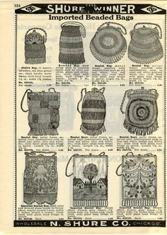 1932 AD Bags Purses Beaded Flower Glass Child's Ronson Perfu-Mists Fringe French