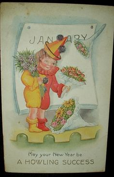 Antique Victorian 1900's New Year Greeting Die Cut Postcard A Howling Sucess - The Gatherings Antique Vintage