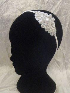 headband, bandeau serre tête brodé de strass mariage mariée