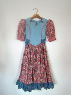 Vintage 80s / Denim / Floral / Puffed by PlayhouseVintageShop
