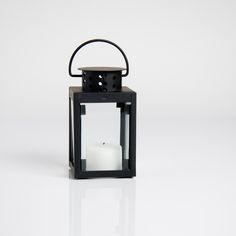 4 in. Rustic Black Metal Candle Lantern 6/pack