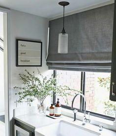 Roman shades for kitchen window above sink.