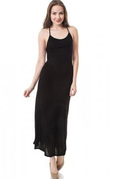 Wholesale Black Spaghetti Strap Maxi Dress