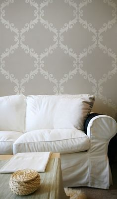 Large Wall Stencil Acanthus Trellis Allover Stencil Great Alternatiive to Decals and Wallpaper for Wall Decor. $39.00, via Etsy.