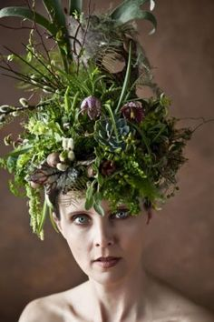 Fabulous head dress of succulents and textural plants.  Where oh where can I wear this?