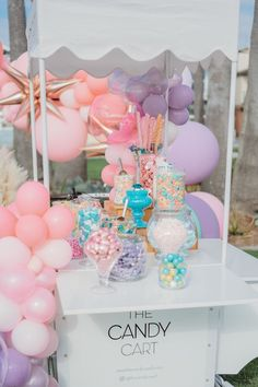 Balloon-adorned Candy Buffet Cart from a Boho Mermaid Party on Kara's Party Ideas   KarasPartyIdeas.com (27) Mermaid Party Decorations, Mermaid Parties, Candy Cart, Mermaid Cakes, Mermaid Birthday, Candy Buffet, Cake Pops, Party Supplies, Birthday Parties