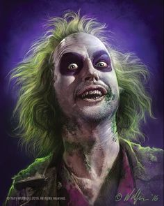 Michael Keaton as Beetlejuice Halloween Kostüm, Halloween Makeup, Halloween Costumes, Michael Keaton, Arte Horror, Horror Art, Film Tim Burton, Horror Icons, How To Draw Hair