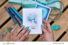 One color combination: turquoise and dark blue on three different exquisite cards. For this card, the designer used the stamp set, Celebrations. Check our blog to see the supplies used on this project. http://www.altenew.com