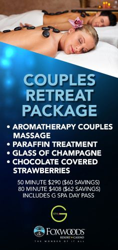 The entire month of February 2016, don't miss out on the Couples Retreat Package at @gspaatfoxwoods! Includes couples massages, paraffin treatments, glasses of champagne & chocolate covered strawberries - all w/ $60+ savings! #GSpa #spa #relax #refresh #pamper #love #massage #champagne #promo
