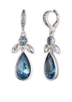 Givenchy  Blue Crystal Drop Earrings