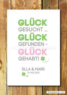 Gastgeschenke - Druck: Glück gehabt! - Hochzeit/Verlobung/Liebe - ein Designerstück von DiePersoenlicheNote bei DaWanda