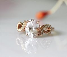 VS Oval Cut 79mm Morganite Ring Unique Ring 14k Rose by RobMdesign