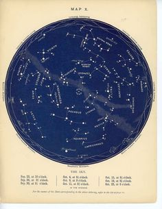 1884 september  & october  constellations star map original antique celestial astronomy chart