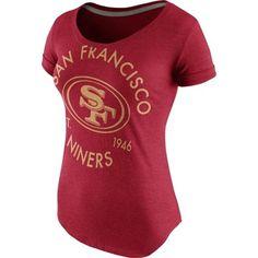 b226ae4ae Women s San Francisco 49ers Nike Scarlet Crested Scoopneck Tri-Blend T-Shirt