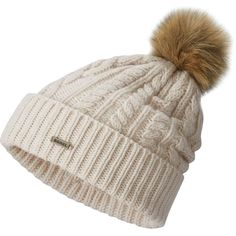 Sorel Addington Lux Pompom Beanie ($65) ❤ liked on Polyvore featuring accessories, hats, beanie cap, pointy hat, cable hat, cable knit beanie and pom pom hat