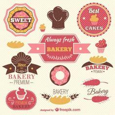 Retro bakery labels set