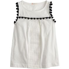 J.Crew Girls' eyelet pom-pom tank ($27) ❤ liked on Polyvore featuring shirts, tops and tank tops