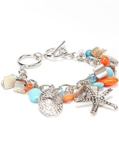 Coral & Turquoise Sea Life Charm Bracelet ღ