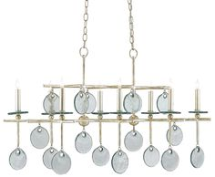 silver home accessories Sethos Chandelier - Finish: Silver Granello, Recycled Glass Silver Chandelier, Modern Chandelier, Chandelier Lighting, Ceiling Fixtures, Light Fixtures, Ceiling Lights, Silver Home Accessories, Rectangular Chandelier, Recycled Glass