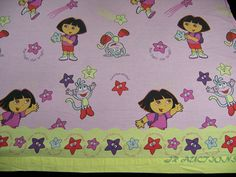 Dora The Explorer Flat Twin Bed Sheet Star Light Star Bright Pink Sewing Crafts #Nickelodeon  #TwinSheet