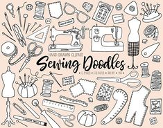 110 image hand drawn doodle sewing, needlework, dressmaking and crafts clip art pack. Set includes digital sewing supplies, vintage sewing machine, scissors, tailors chalk, dressmaking mannequin, lace, buttons, thread spools, bobbin, thread snips, handmade lebels, serger spool,