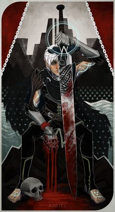 ajgiel:  Fenris tarot card because why not. Inspired by death tarot card and inquisition tarot cards.