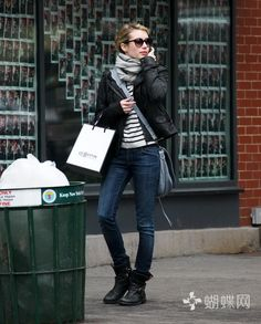 mororcylce boots, striped shirt, skinny jeans and motorcylce jacket