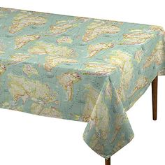John Lewis World Map PVC Cut Length Tablecloth, Blue £18.00 Product Code: 65273401 Fabric Width 130cm Material 75% cotton, 25% polyester Washing Instructions Sponge clean