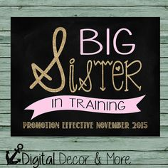Pregnancy Announcement Poster // Big Sister in Training // Customize Colors // Pink and Gold Glitter // Chalkboard Poster Printable