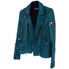 Pre-owned Jacket (91.990 RUB) ❤ liked on Polyvore featuring outerwear, jackets, coats & jackets, coats, green, green jacket, balmain jacket, blue jackets and balmain