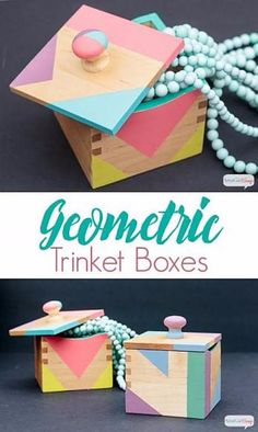 DIY Jewelry Ideas - Geometric Trinket Boxes - How To Make the Coolest Jewelry Ideas For Kids and Teens - Homemade Wooden and Plastic Jewelry Box Plans - Easy Cardboard Gift Ideas - Cheap Wall Makeover Wooden Jewelry Boxes, Wooden Boxes, Wooden Drawers, Cardboard Gift Boxes, Painted Boxes, Jewelry Box Plans, Jewelry Ideas, Kids Jewelry, Diy Jewelry Box