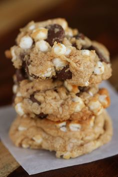 Gooey Smores Cookies - I like that she food processes in cinnamon grahams for a different twist.