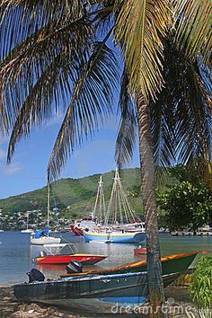 Boats moored in Admiralty Bay, Bequia, an island close to St. Vincent and the Grenadines in the Caribbean. My all time fav island!