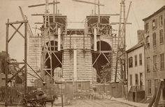Brooklyn Bridge Construction, Brooklyn Roadway Approach. Photograph ca. 1869-1883. Geographic File, PR 020, New-York Historical Society, 59404.